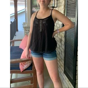 American Eagle Outfitters Black Beaded Tank Top